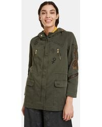 Desigual - Hooded Parka With A Plain-coloured Print - Lyst