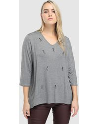 Couchel - Plus Size Grey T-shirt With Gemstones - Lyst