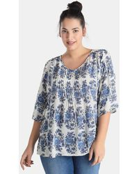 Couchel - Plus Size Short Sleeved Printed Blouse - Lyst