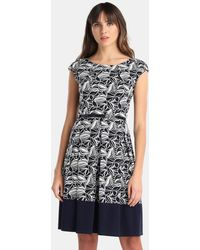 Yera - Printed Dress With Belt - Lyst