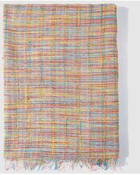 El Corte Inglés Multicoloured Striped Foulard With Frayed Edges - Multicolor