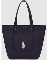 Polo Ralph Lauren - Navy Blue Canvas Tote Bag With Embroidered Logo - Lyst