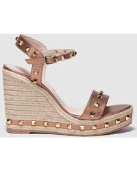 7173153f98e7 Michael Kors Brown And Golden Mackay Wedge Sandals in Brown - Lyst