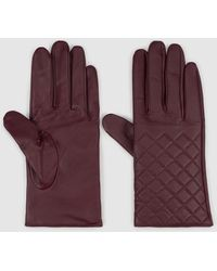El Corte Inglés Quilted Burgundy Leather Gloves - Purple