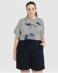 Couchel Wo Plus Size Flowing Bermuda Shorts With Drawstring Waist - Blue