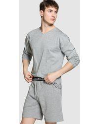 Punto Blanco Pantalón De Pijama De Hombre De Punto Corto Gris