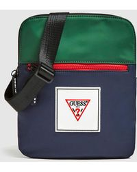 Guess Thin Navy Blue And Green Crossbody Bag With Zip