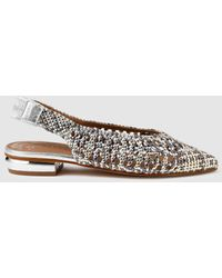 Pedro Miralles Metallic Silver Flat Shoes With Plaited Detail