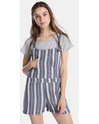 Green Coast - Short Striped Dungarees - Lyst