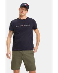 Tommy Hilfiger - Camiseta De Hombre Azul De Manga Corta - Lyst