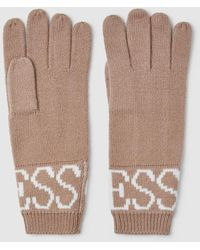 Guess Camel Wool Gloves With Brand Name - Natural