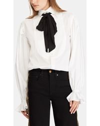 Polo Ralph Lauren - White Blouse With A Bow On The Collar - Lyst