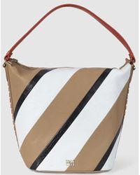 Gloria Ortiz Crossroads Camel Leather Hobo With Diagonal Stripes - Multicolour