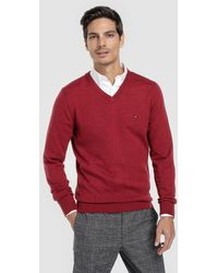 Tommy Hilfiger - Maroon Virgin Wool Sweater With V-neck - Lyst