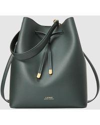 Lauren by Ralph Lauren Medium Green Leather Bucket Bag With Several Straps