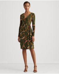 Lauren by Ralph Lauren Long Sleeve Maxi Print Dress - Green