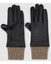 El Corte Inglés Black Leather Gloves With Contrasting Cuffs