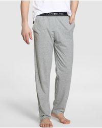 Punto Blanco Pantalón De Pijama De Hombre De Punto Largo Gris