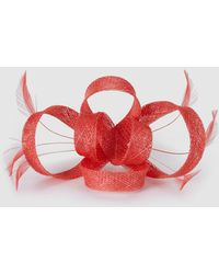 El Corte Inglés Coral Sinamay Fascinator With Feathers - Red