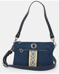 Caminatta Wo Navy Blue Nylon Crossbody Bag With Trim