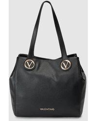 Valentino Shopping En Negro Con Aplique Metálico De La Marca