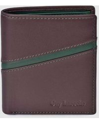 Guy Laroche Burgundy And Green Vertical Wallet - Multicolor