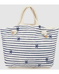 3debfd60aa Caminatta - Two-tone Red And White Stripe Print Canvas Shopper Bag - Lyst