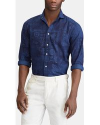 Polo Ralph Lauren - Slim Blue Printed Shirt - Lyst