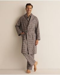 Mirto Mens Printed Dressing Gown With Three Pockets - Multicolour