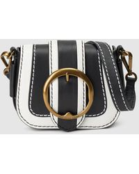 8d75c9a9d45a Polo Ralph Lauren - Black Cowhide Leather Small Crossbody Bag With Buckle -  Lyst