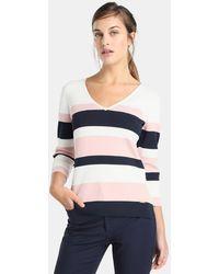 Yera - Striped V-neck Sweater - Lyst