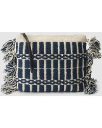 El Corte Inglés Two-tone Blue And White Pouch With Pompoms On The Side