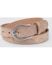 Jo & Mr. Joe Edison Glass Shiny Beige Belt With Studs - Natural