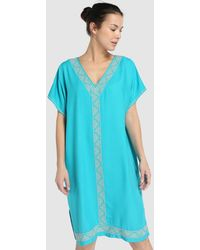 El Corte Inglés Turquoise Kaftan With Contrasting Embroidery - Blue