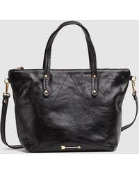 Mercules Carpenter Medium Black Leather Shopper Bag With Arrow Appliqué
