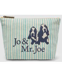 Jo & Mr. Joe Beige Cotton Toiletry Bag With Turquoise Stripes - Blue