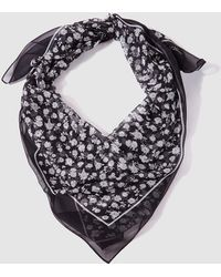 Lauren by Ralph Lauren - Black And White Printed Silk Scarf - Lyst