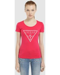 Guess - T-shirt With Logo And Rhinestones - Lyst