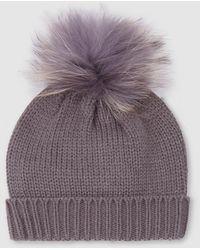 El Corte Inglés Gray Knitted Hat With Fur Pompom