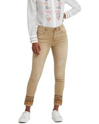 Desigual - Skinny Jeans With A Plain-coloured Print - Lyst