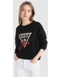 Guess - Cropped Sweatshirt With Rhinestones - Lyst