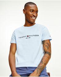 Tommy Hilfiger - Camiseta De Hombre De Manga Corta Azul Celeste - Lyst
