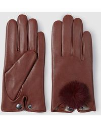 Georges Rech - Brown Leather Gloves With Fur Pompom - Lyst
