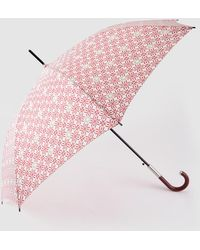 Caminatta Long Umbrella With Red Geometric Print