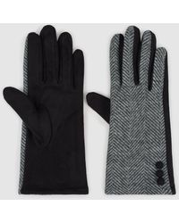 El Corte Inglés Two-tone Herringbone Design Gloves - Black