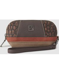 Caminatta - Brown Wallet With Mock-croc Details - Lyst