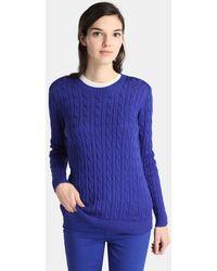 Lauren by Ralph Lauren - Blue Cable Knit Jumper - Lyst
