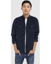 Green Coast - Slim-fit Plain Navy Blue Needlecord Shirt - Lyst