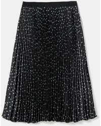 Couchel Plus Size Polka Dot Accordion Pleat Skirt - Black