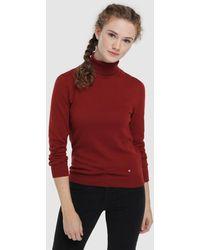 Green Coast Jersey Basico De Mujer Cuello Vuelto - Rojo